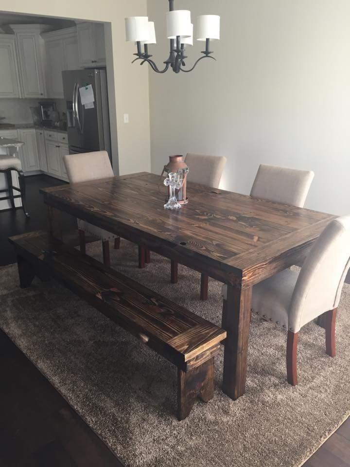 Popular Photo of Distressed Walnut And Black Finish Wood Modern Country Dining Tables