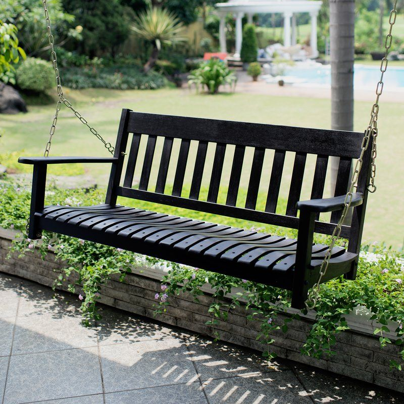 Popular Photo of CasualThames Black Wood Porch Swings