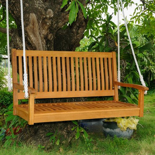 Popular Photo of 2 Person Light Teak Oil Wood Outdoor Swings