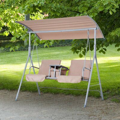 Freeport Park Laron Covered Patio Porch Swing With Stand Within Canopy Patio Porch Swing With Stand (View 5 of 20)