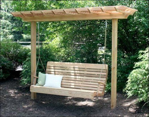 Freestanding Yard Swings | It's A Compact Arbor That Is With Regard To 2 Person Natural Cedar Wood Outdoor Swings (#13 of 20)