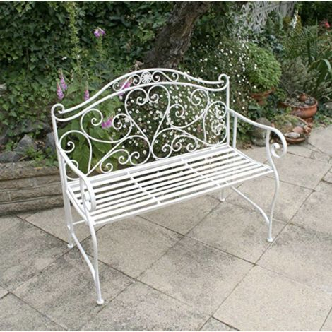 French Garden Bench Antique Vintage Loveseat Outdoor Metal Throughout 2 Person Antique Black Iron Outdoor Gliders (#6 of 20)
