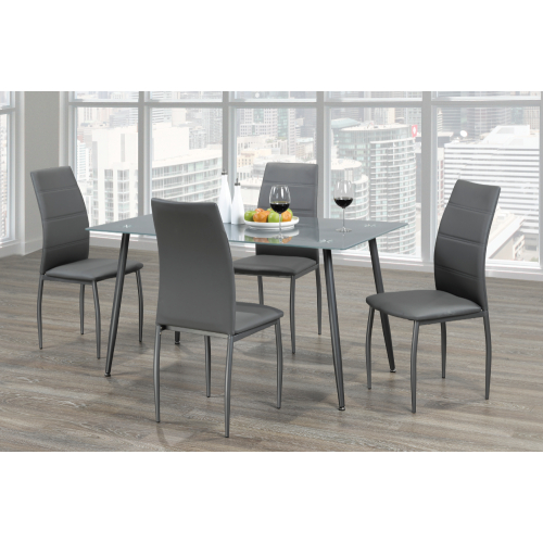 Popular Photo of Frosted Glass Modern Dining Tables With Grey Finish Metal Tapered Legs