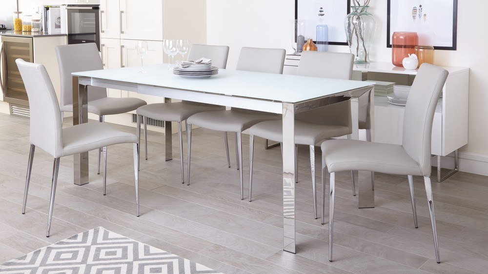 Frosted Glass Modern Dining Tables With Grey Finish Metal Tapered Legs Intended For Most Recent Eve White Frosted Glass With Chrome And Elise Extending Dining Set (#10 of 20)