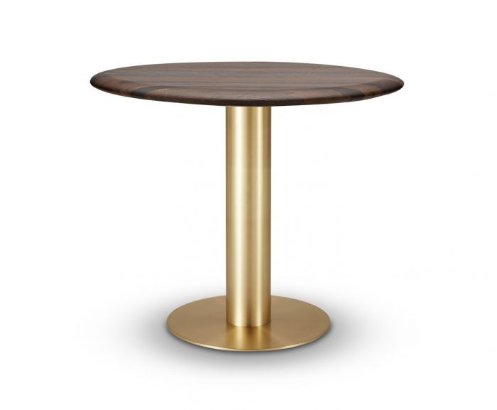 Fumed Oak Dining Tables Throughout 2020 Tube Dining Table Brass Fumed Oak Top 900Mm (#8 of 20)