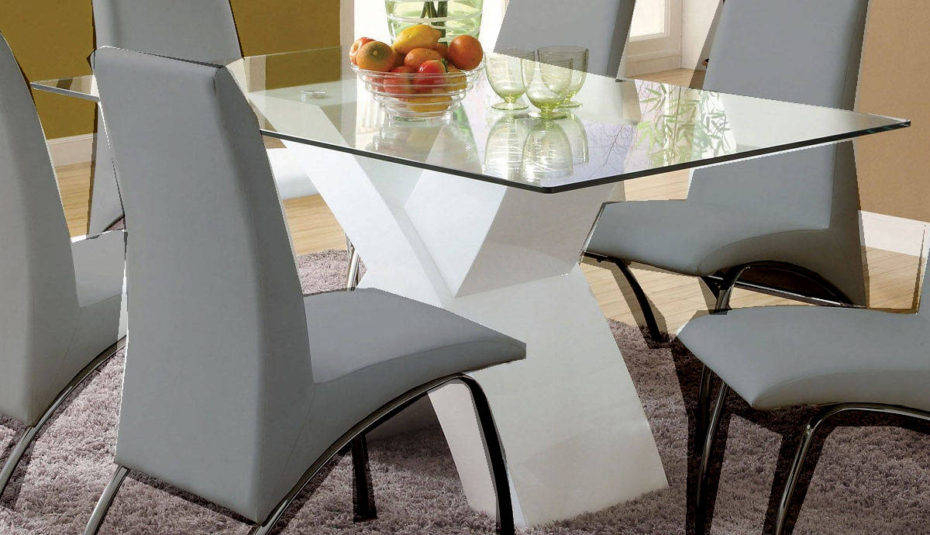 Furniture Dining Room Contemporary Glass Top Table Sets Intended For Most Up To Date Modern Glass Top Extension Dining Tables In Matte Black (#8 of 20)