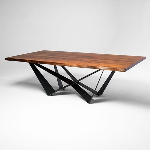 Furniture, Dining Table Design, Table With Acacia Wood Top Dining Tables With Iron Legs On Raw Metal (#15 of 20)