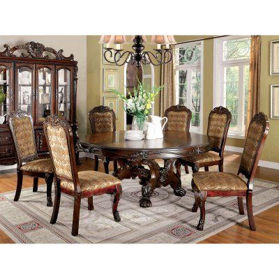 Furniture Of America Evangeline Elegant 7 Piece Round Dining Within Well Known Elegance Large Round Dining Tables (#13 of 20)
