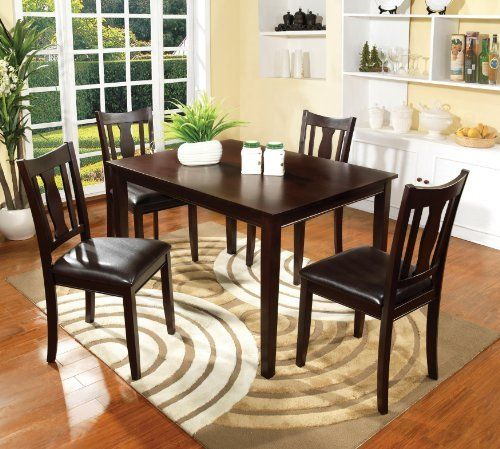 Furniture Of America Marion 5 Piece Solid Wood Dining Set Pertaining To Widely Used Atwood Transitional Square Dining Tables (View 9 of 21)