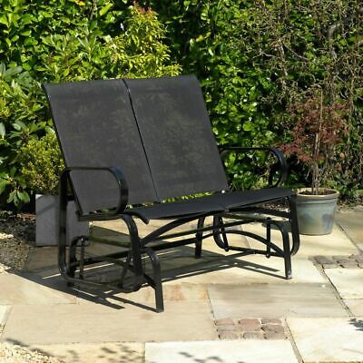 Garden Antique Rocking Chair Metal Bench One Double Seater 1 Throughout 2 Person Antique Black Iron Outdoor Gliders (#7 of 20)