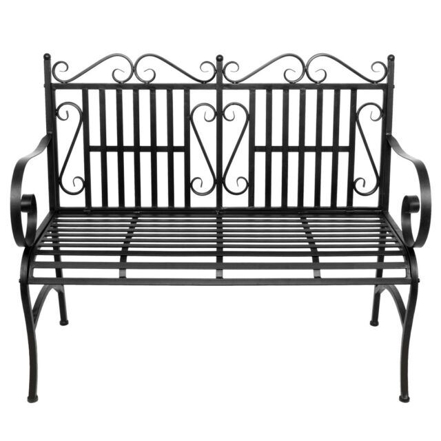 Garden Bench Metal Outdoor Patio Furniture Deck Chair Back Yard Iron Porch Seat In 2 Person Black Wood Outdoor Swings (View 17 of 20)