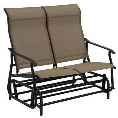 Garden Double Patio Glider Rocking Armchair Outdoor Lounge Inside Iron Double Patio Glider Benches (View 6 of 20)