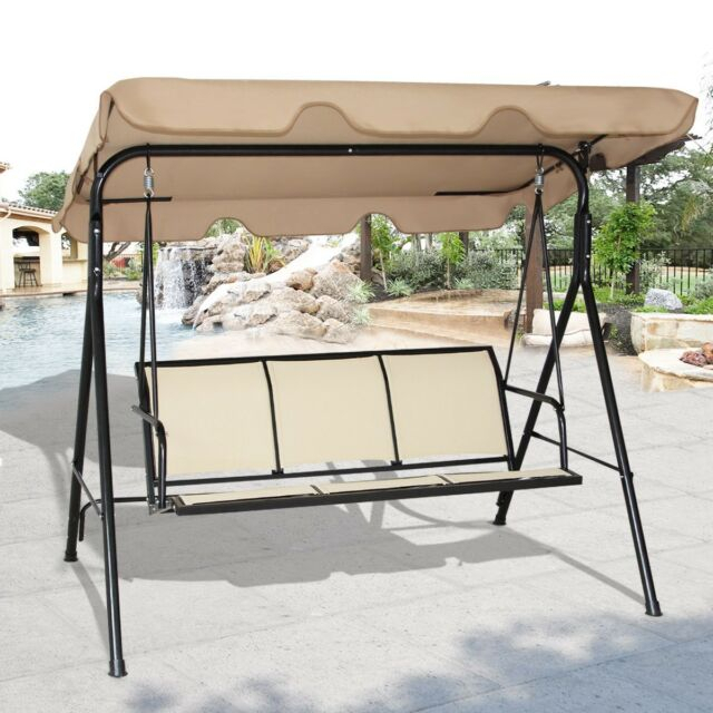 Garden Outdoor 3 Person Family Canopy Glider Hammock Porch Swing Bench  Chair Us In Patio Glider Hammock Porch Swings (#5 of 20)