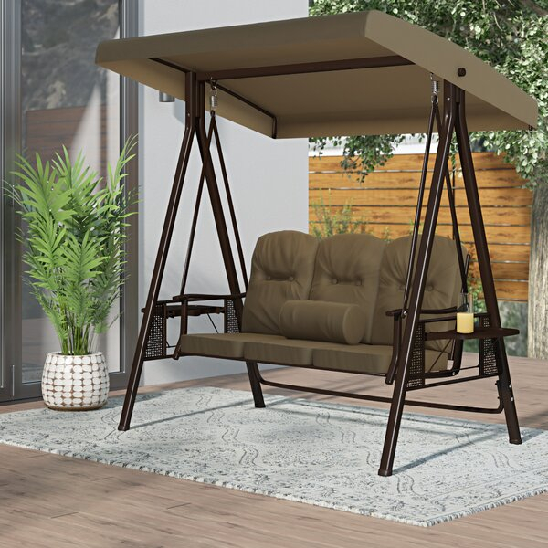 Garden Swings With Canopy | Wayfair Within Outdoor Canopy Hammock Porch Swings With Stand (View 8 of 20)