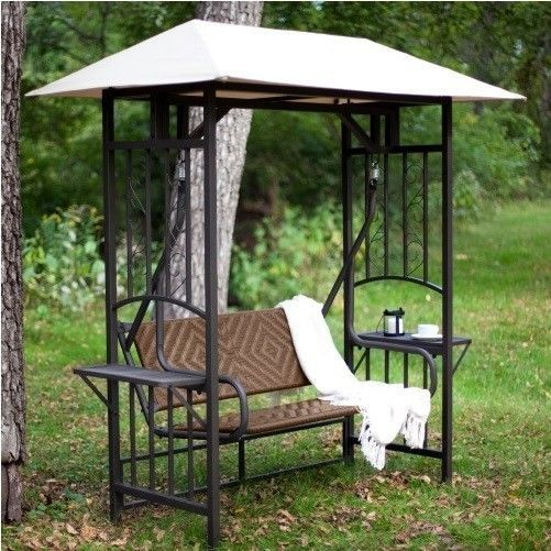 Gazebo Canopy Swing Outdoor Patio Furniture Metal Wicker Regarding Patio Gazebo Porch Swings (View 3 of 20)