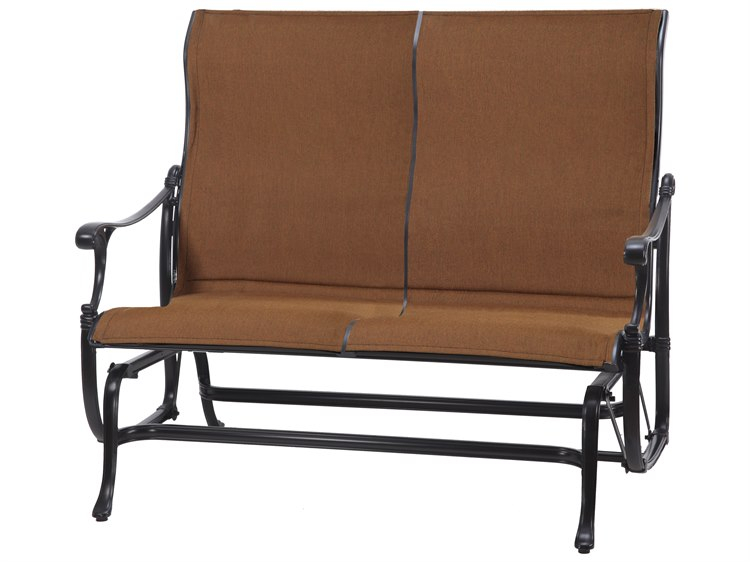 Gensun Michigan Padded Sling Cast Aluminum High Back Loveseat Glider In Padded Sling Loveseats With Cushions (#4 of 20)