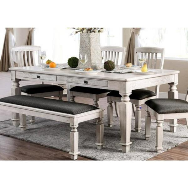 Georgia Antique White And Gray Transitional Style Dining Table Regarding Recent Transitional Antique Walnut Square Casual Dining Tables (View 11 of 20)