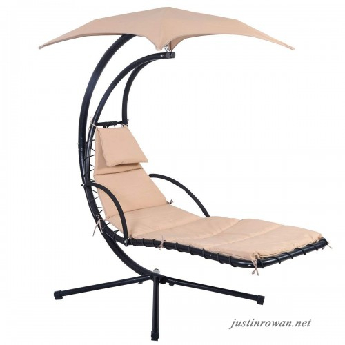 Giantex Hanging Chaise Lounger Chair Arc Stand Air Porch Throughout Outdoor Pvc Coated Polyester Porch Swings With Stand (View 20 of 20)