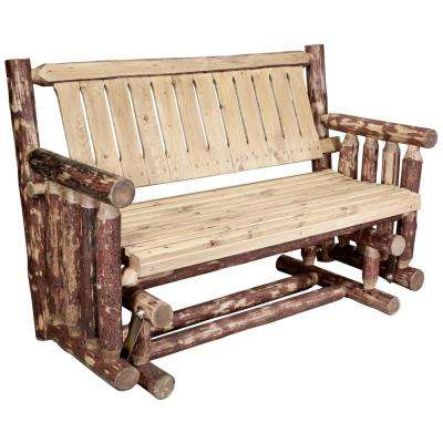 Glacier 2 Person Wood Outdoor Glider Pertaining To 2 Person Natural Cedar Wood Outdoor Gliders (#11 of 20)
