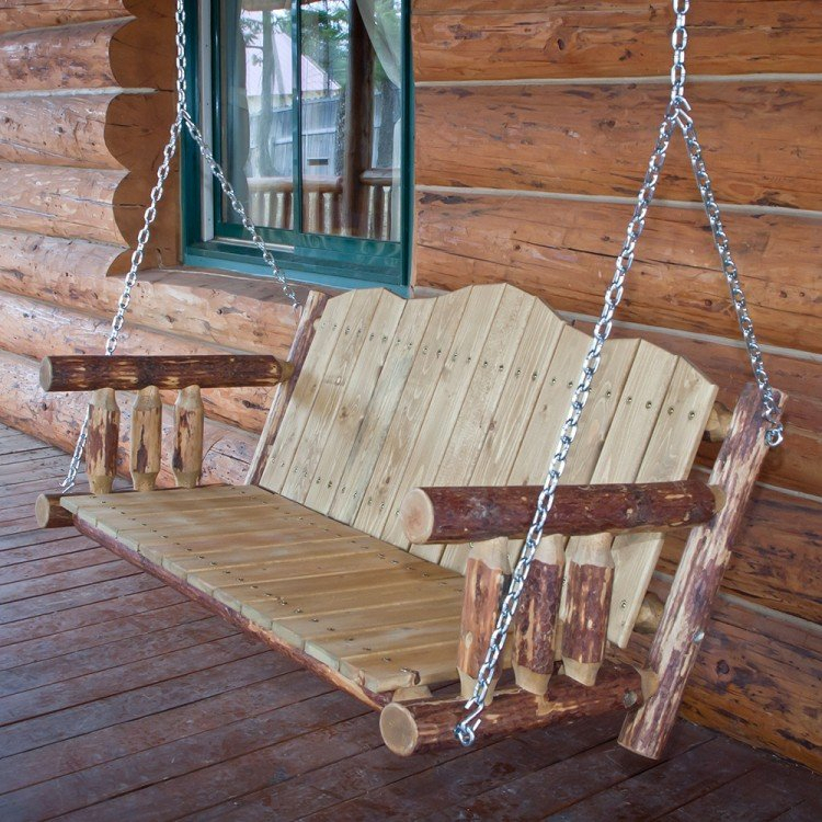 Glacier Country Log Porch Swing Throughout Porch Swings (#11 of 20)