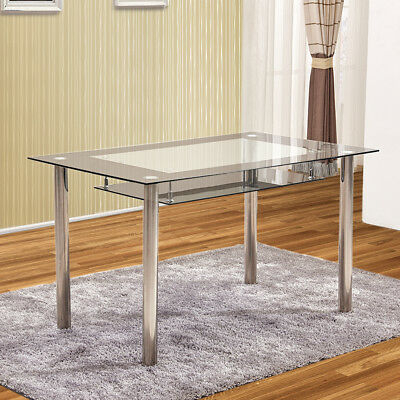 Glass Dining Tables With Metal Legs For Current 2 Tier Tempered Glass Dining Tables Metal Legs Kitchen (#4 of 20)