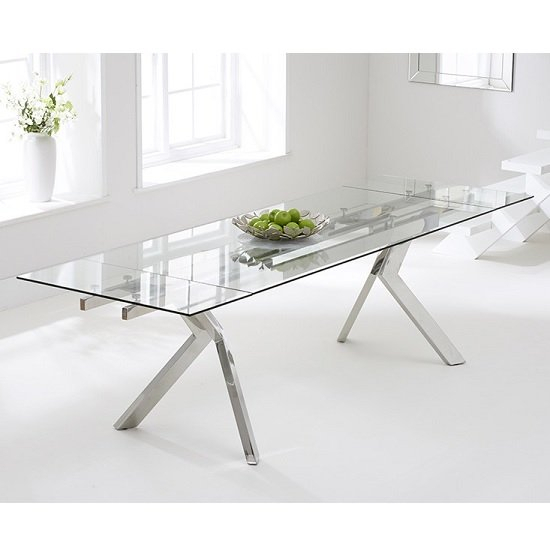 Glass Dining Tables With Metal Legs Intended For Latest Rialto Extendable Glass Dining Table With Stainless Steel Legs (#7 of 20)