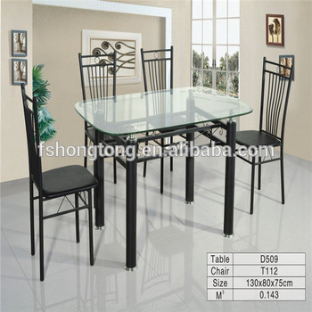 Popular Photo of Glass Dining Tables With Metal Legs