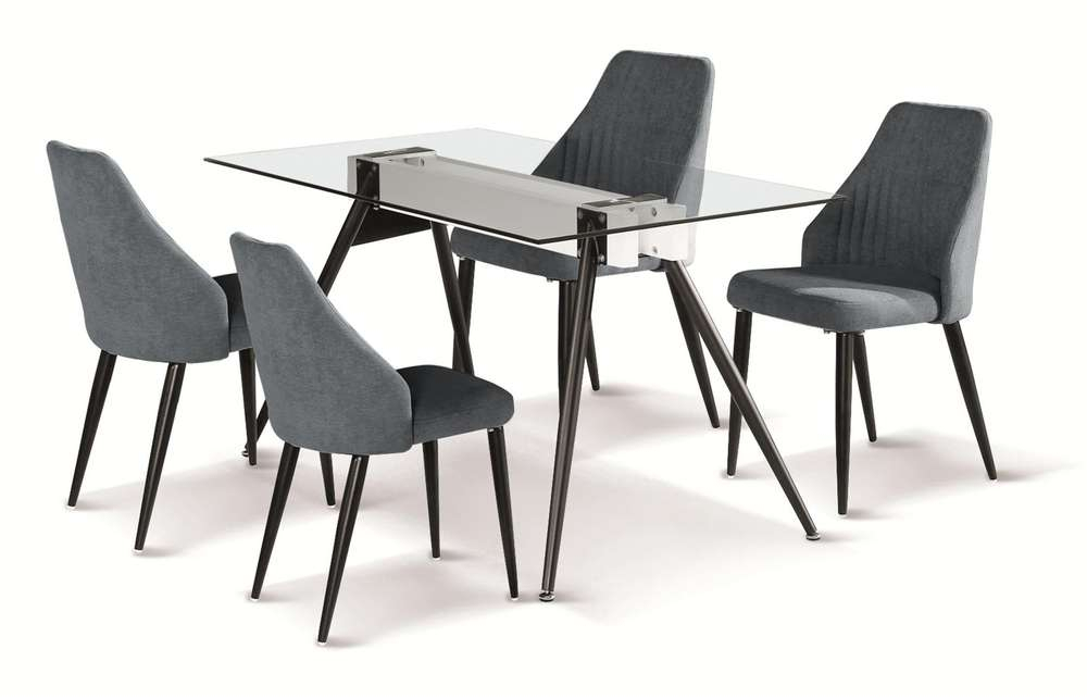 Glass Dining Tables With Metal Legs With Regard To Preferred 140Cm Glass Dining Table And 4 Grey Fabric Chairs (#9 of 20)