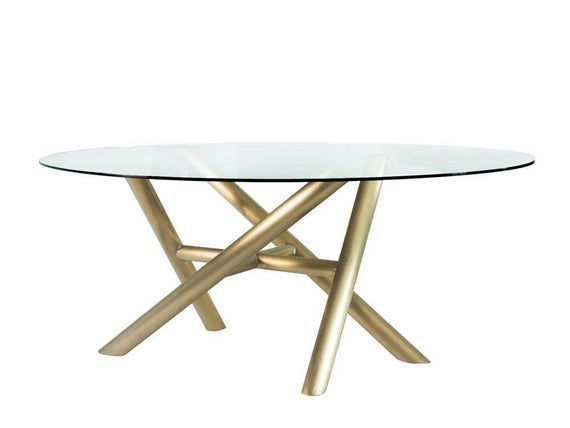 Glass Dining Tables With Metal Legs With Regard To Well Known Sticks Oval Glass Dining Table, Metal Dining Table Legs For Sale, Solid  Gold Metal Table Legs, Live Edge, Edelstahl Tisch Basis, (#10 of 20)