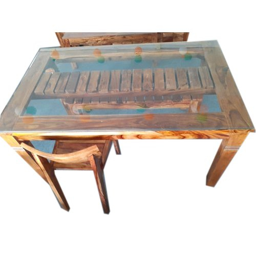 Glass Top Wooden Dining Table Set In Most Current Rectangular Glass Top Dining Tables (#10 of 20)