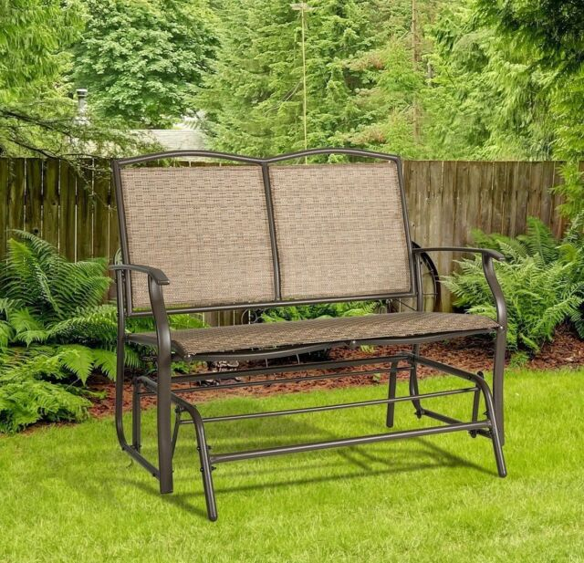 Goplus 2 Person Patio Glider Rocking Bench Double Chair Loveseat Armchair  Garden With Double Glider Loveseats (#9 of 20)