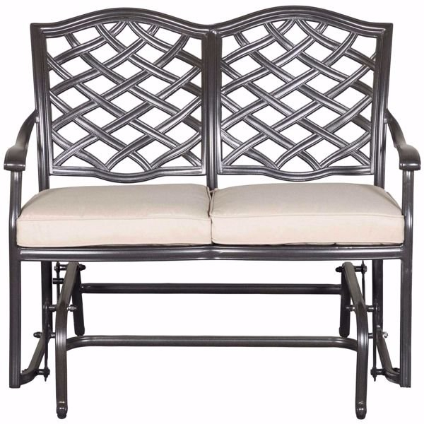 Halston Patio Glider Loveseat With Cushions Within Speckled Glider Benches (View 5 of 20)