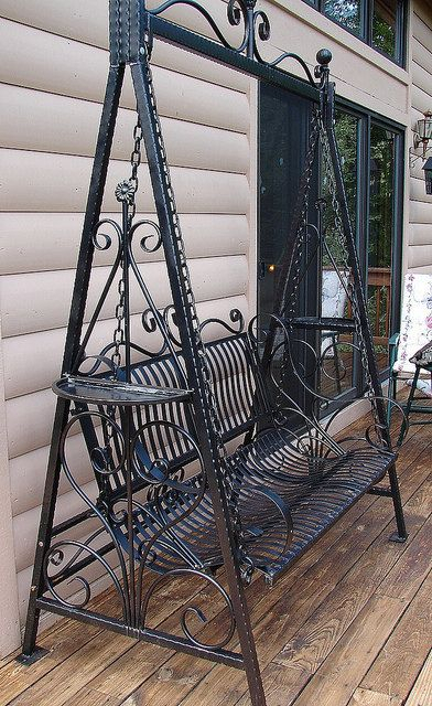 Popular Photo of 1 Person Antique Black Iron Outdoor Swings