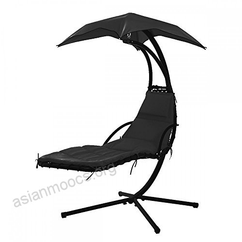 Hanging Chaise Lounger Chair Arc Stand Air Porch Swing Intended For Outdoor Canopy Hammock Porch Swings With Stand (View 4 of 20)