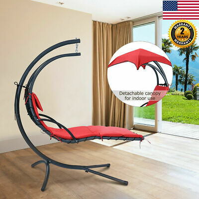 Hanging Chaise Lounger Chair Arc Stand Porch Swing Hammock Canopy Cushion Red | Ebay With Outdoor Canopy Hammock Porch Swings With Stand (View 20 of 20)