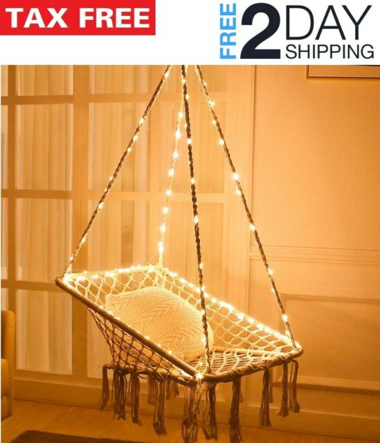 Hanging Hammock Chair Cotton Rope Light Porch Swing Garden Patio Balcony Bedroom Within Cotton Porch Swings (View 16 of 20)