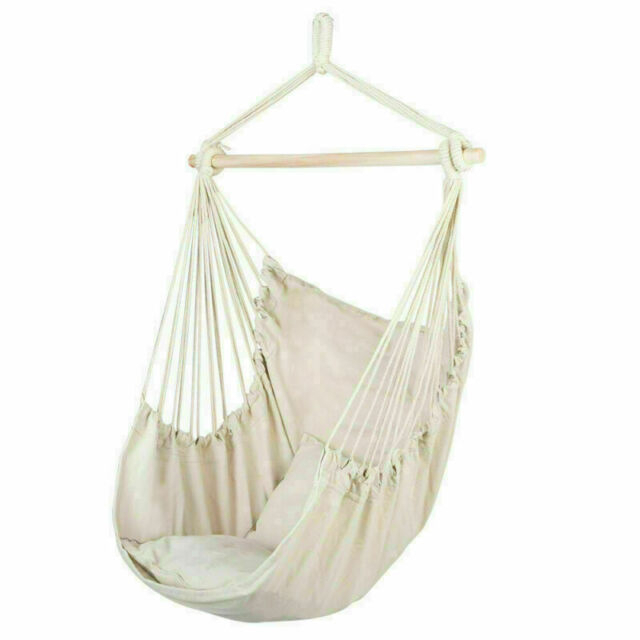 Hanging Rope Chair Porch Swing Yard Garden Patio Hammock Cotton Home Outdoor Inside Cotton Porch Swings (View 2 of 20)
