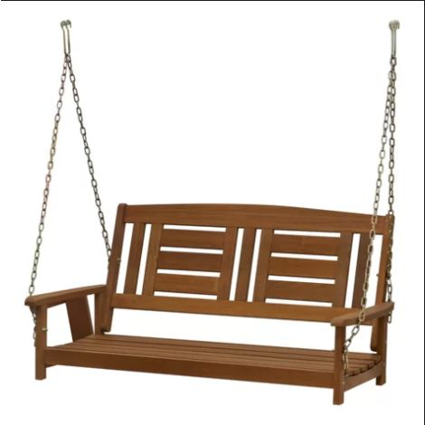 Hanging Swing Bench Outdoor Patio Furniture 2 Seater Seat Wooden Porch Chair With 2 Person Light Teak Oil Wood Outdoor Swings (View 17 of 20)