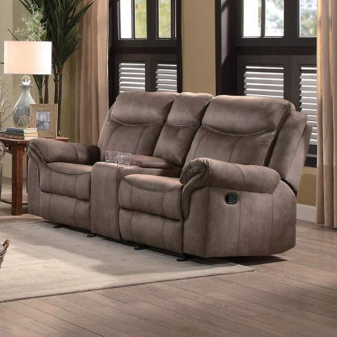 Homelegance Aram Double Glider Reclining Loveseat In Brown With Regard To Double Glider Loveseats (#11 of 20)
