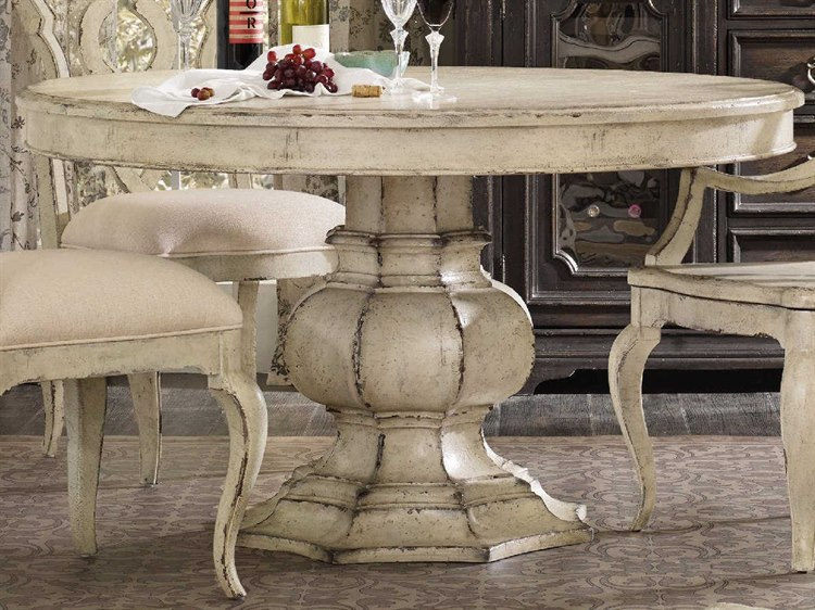 Hooker Furniture Auberose Antique White 52'' Wide Round Pedestal Dining Table Inside Latest Transitional Antique Walnut Square Casual Dining Tables (View 16 of 20)