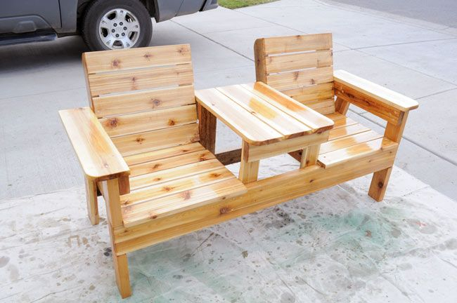 How To Build A Double Chair Bench With Table – Free Plans With Regard To Twin Seat Glider Benches (View 20 of 20)