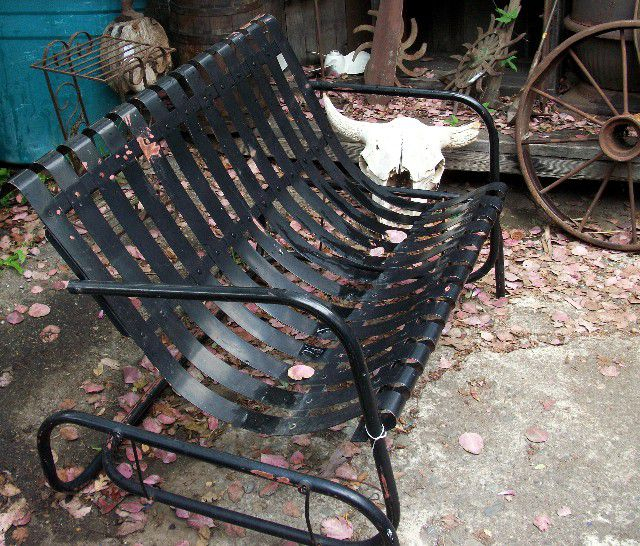How To Shop For Vintage Outdoor Furniture Throughout 2 Person Antique Black Iron Outdoor Gliders (#9 of 20)