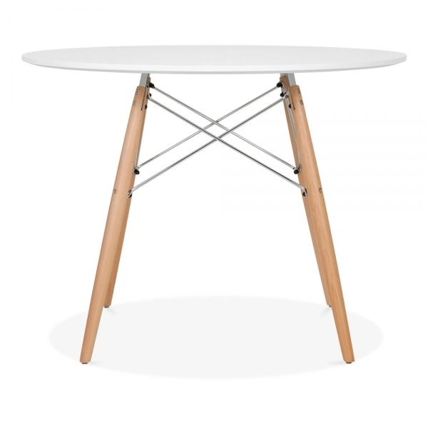 Inspiration about Iconic Designs Dsw Style Dining Round Table, White 100Cm In In Most Up To Date Eames Style Dining Tables With Chromed Leg And Tempered Glass Top (#6 of 20)