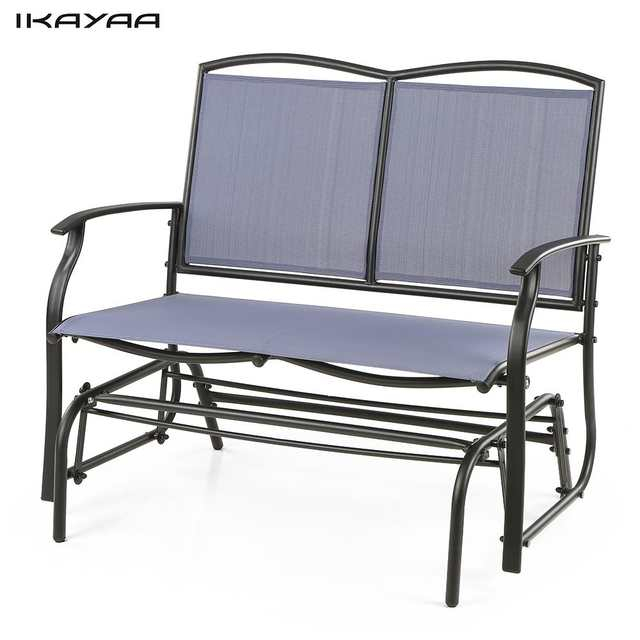 Inspiration about Ikayaa 2 Person Patio Swing Glider Bench Chair Loveseat With Regard To Steel Patio Swing Glider Benches (#18 of 20)