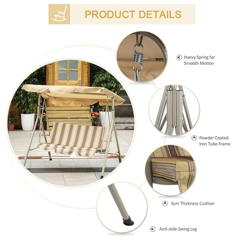Ikayaa 3 Person Seater Patio Canopy Swing Glider Hammock Outdoor Porch  Swing Chair Backyard Furniture Metal Frame W/ Adjustable Awning Sold Intended For Patio Glider Hammock Porch Swings (#6 of 20)