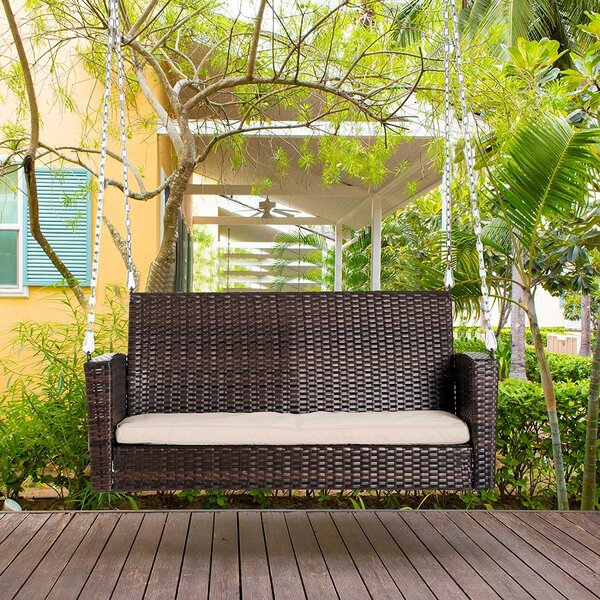 Inspiration about Indoor Wicker Swing | Wayfair Pertaining To Outdoor Wicker Plastic Half Moon Leaf Shape Porch Swings (#16 of 20)