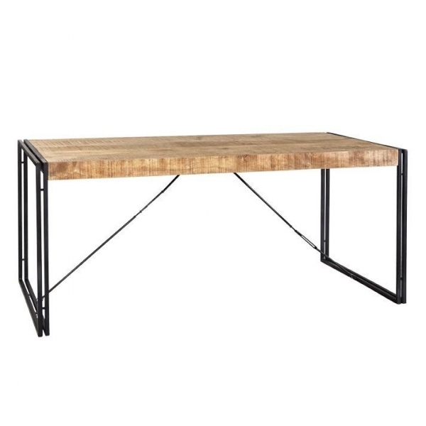 Industrial Living Regis Medium Dining Table, Solid Hardwood And Iron, Natural 155cm With Current Medium Dining Tables (View 16 of 20)