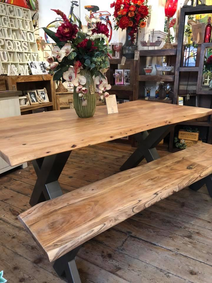Inspiration about Industrial Style Solid Acacia Wood Bench With Metal Legs Pertaining To Recent Acacia Top Dining Tables With Metal Legs (#20 of 20)
