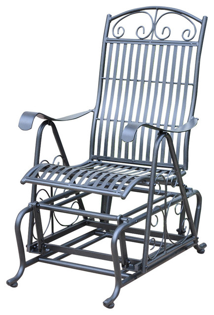 Inspiration about International Caravan Mandalay Single Iron Patio Glider In Black Pertaining To 1 Person Antique Black Steel Outdoor Gliders (#2 of 20)