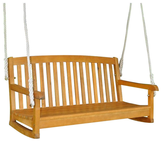 """Inspiration about International Caravan Royal Fiji 48"""" Hanging Porch Swing In Natural Pertaining To 2 Person Light Teak Oil Wood Outdoor Swings (#9 of 20)"""